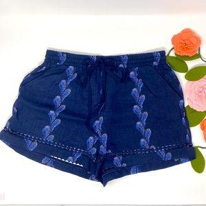 Joy Joy blue beach shorts, elastic waist Small